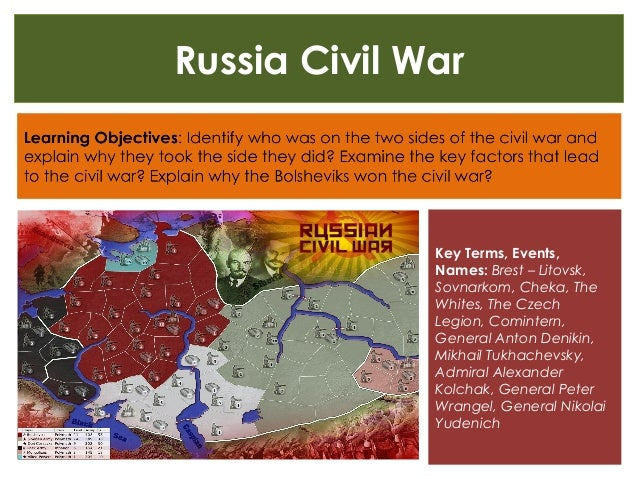 Russia Civil War Key Terms, Events, Names: Brest – Litovsk, Sovnarkom, Cheka, The Whites, The Czech Legion, Comintern, Gen...