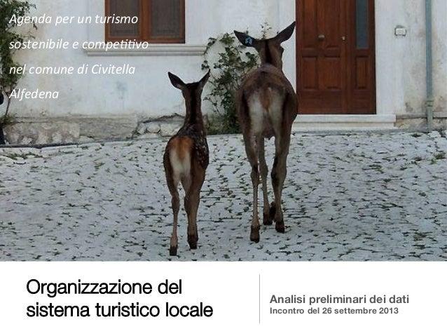 Organizzazione del sistema turistico locale Analisi preliminari dei dati Incontro del 26 settembre 2013 Agenda  per  u...