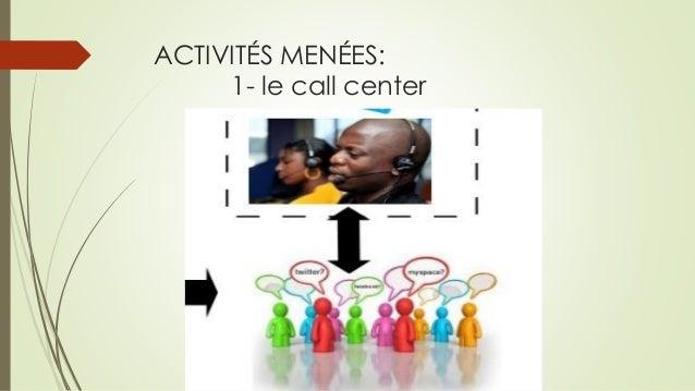 ACTIVITÉS MENÉES: 1-le call center