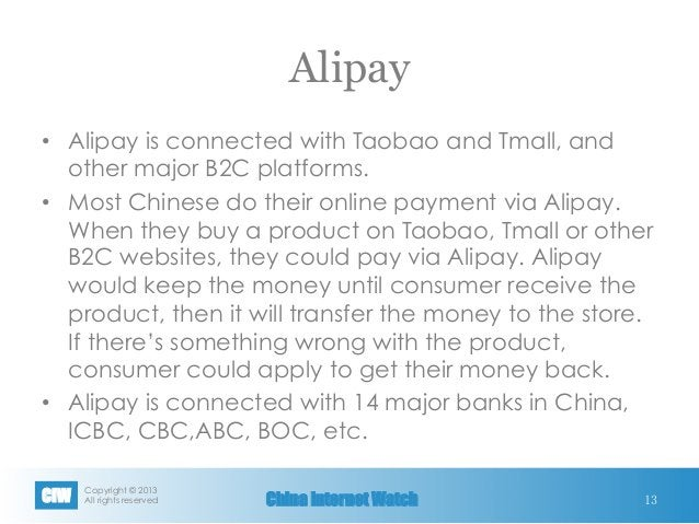Copyright © 2013 All rights reservedCIW China Internet Watch Alipay • Alipay is connected with Taobao and Tmall, and oth...