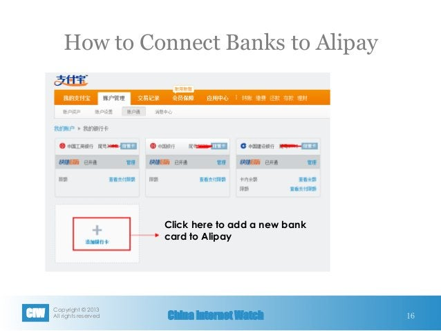Copyright © 2013 All rights reservedCIW China Internet Watch How to Connect Banks to Alipay 16 Click here to add a new ba...