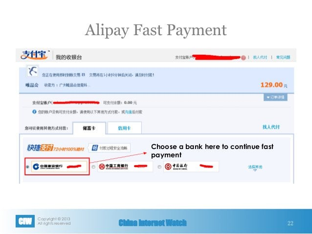 Copyright © 2013 All rights reservedCIW China Internet Watch Alipay Fast Payment 22 Choose a bank here to continue fast p...