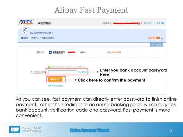 Copyright © 2013 All rights reservedCIW China Internet Watch Alipay Fast Payment 23 Enter you bank account password here ...