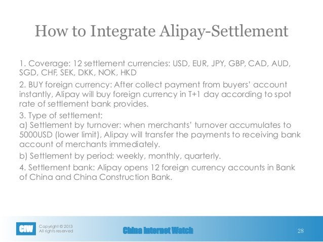 Copyright © 2013 All rights reservedCIW China Internet Watch How to Integrate Alipay-Settlement 1. Coverage: 12 settlemen...