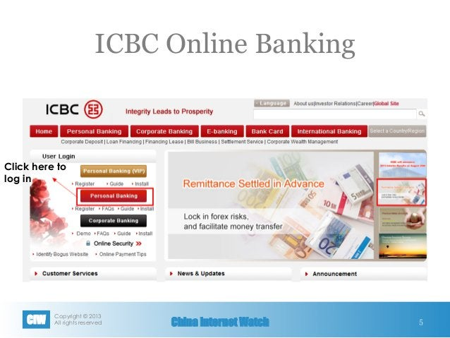 Copyright © 2013 All rights reservedCIW China Internet Watch ICBC Online Banking 5 Click here to log in