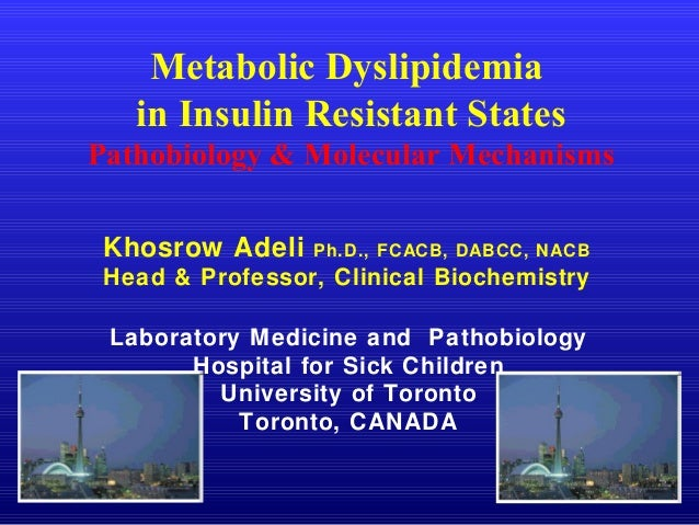 Metabolic Dyslipidemia in Insulin Resistant States Pathobiology & Molecular Mechanisms Khosrow Adeli Ph.D., FCACB, DABCC, ...