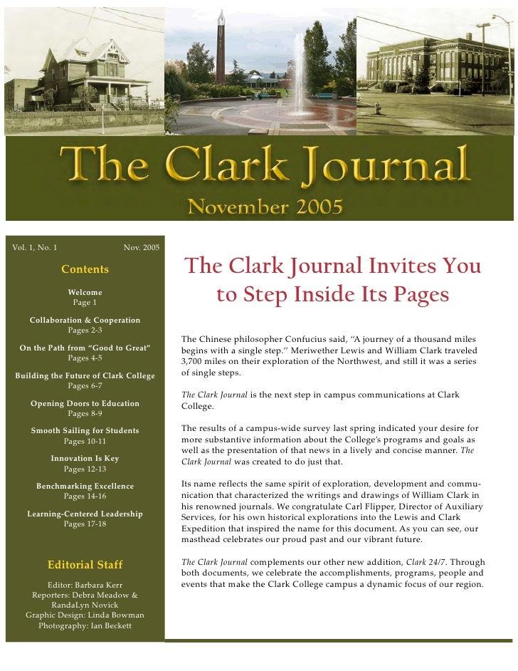 Vol. 1, No. 1                  Nov. 2005                Contents                   The Clark Journal Invites You          ...