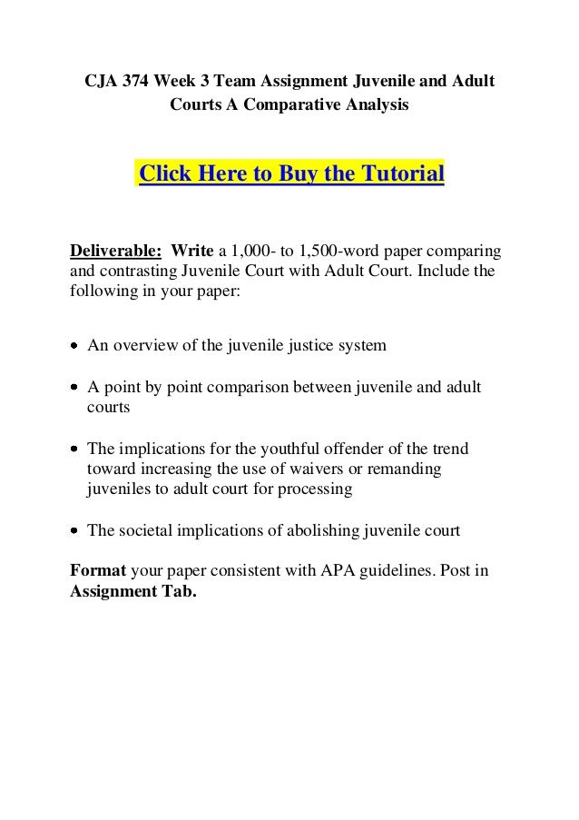 cja 374 week 3 learning team Cja 374 week 5 learning team assignment future of the juvenile justice system presentation and paper click below url to purchase homework.