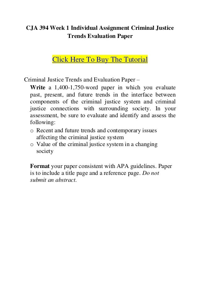 criminal justice trends evaluation paper