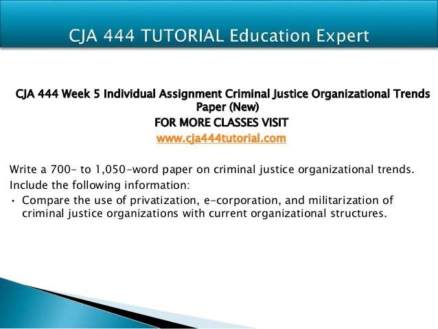 criminal justice organizational trends paper Write a 700- to 850-word paper on criminal justice organizational trends include the following information: compare the use of privatization, e-corporation, and militarization of criminal justice organizations with current organizational structures.