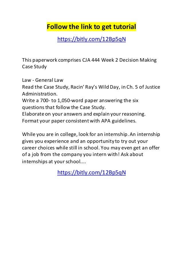 Decision making case study paper cja 444