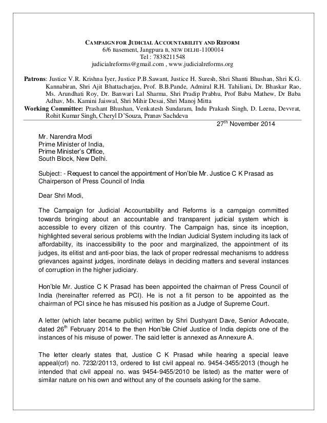 CAMPAIGN FOR JUDICIAL ACCOUNTABILITY AND REFORM 6/6 Basement, Jangpura B, NEW DELHI-1100014 Tel : 7838211548 judicialrefor...