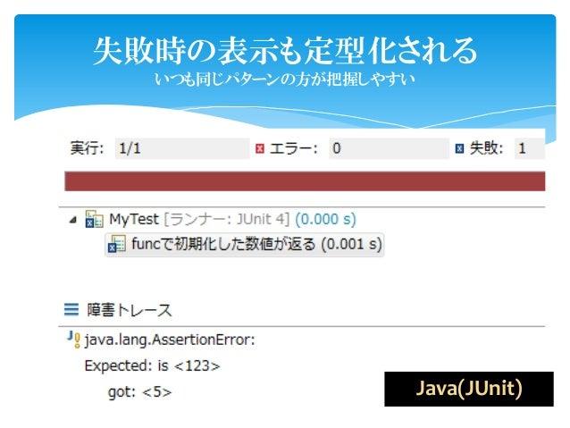 失敗時の表示も定型化される  いつも同じパターンの方が把握しやすい                       Java(JUnit)