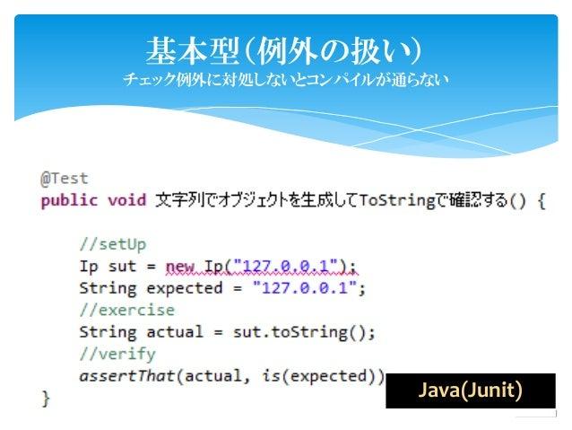 基本型(例外の扱い)チェック例外に対処しないとコンパイルが通らない                                Java(Junit)               copyright© 2011/03.. by SAPPORO...
