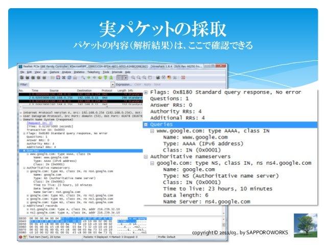 実パケットの採取パケットの内容(解析結果)は、ここで確認できる               copyright© 2011/03.. by SAPPOROWORKS