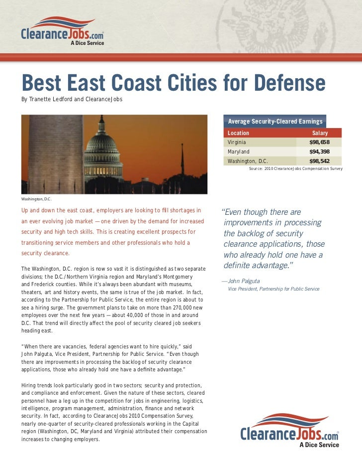Best East Coast Cities for DefenseBy Tranette Ledford and ClearanceJobs                                                   ...
