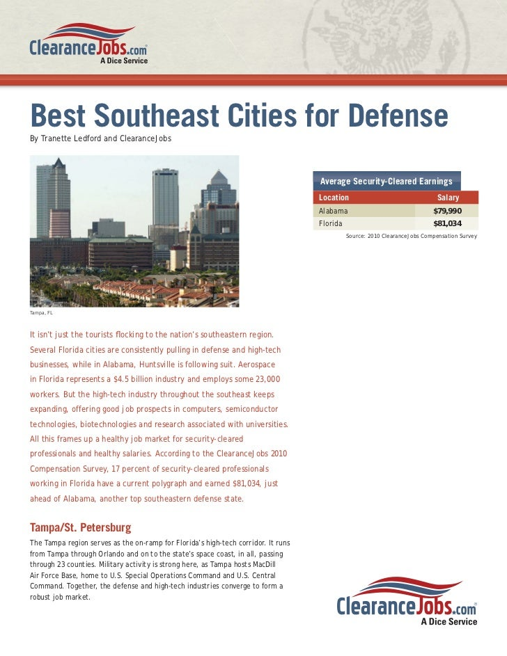 Best Southeast Cities for DefenseBy Tranette Ledford and ClearanceJobs                                                    ...