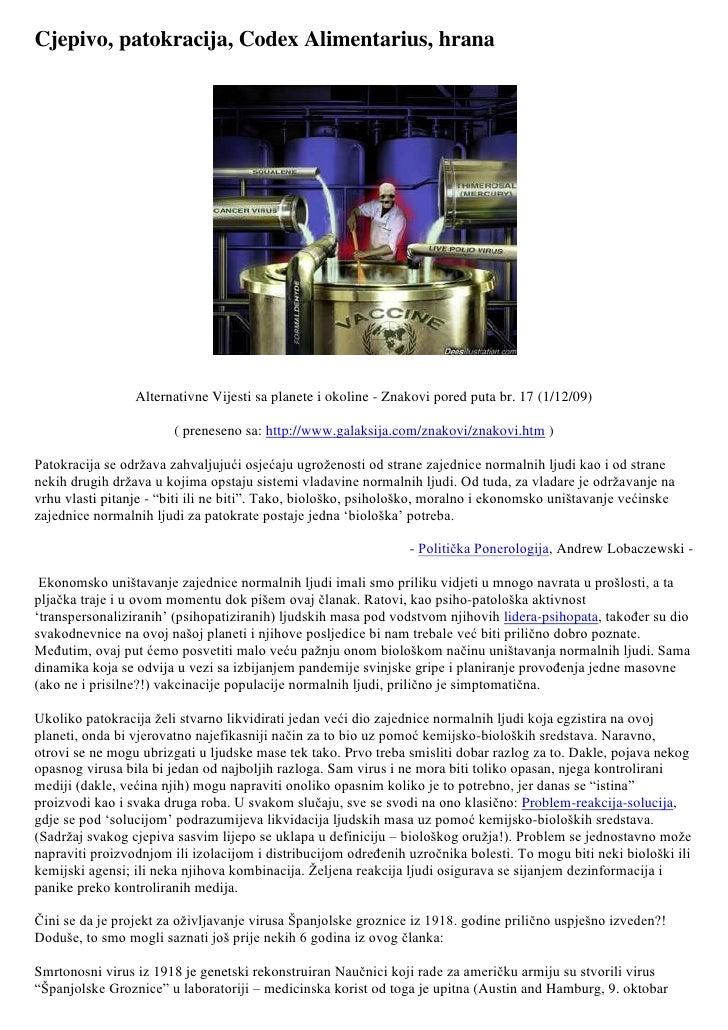 Cjepivo, patokracija, Codex Alimentarius, hrana <br />Alternativne Vijesti sa planete i okoline - Znakovi pored puta br. 1...