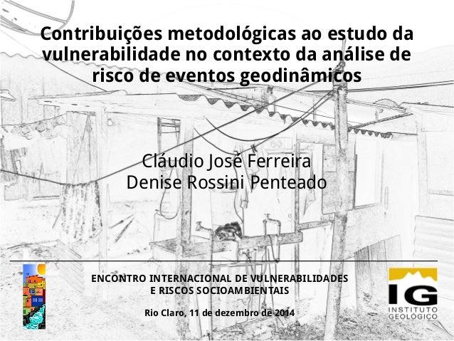 Contribuições metodológicas ao estudo da vulnerabilidade no contexto da análise de risco de eventos geodinâmicos Cláudio J...