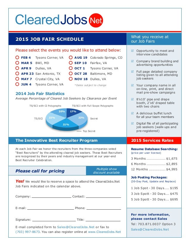 2015 JOB FAIR SCHEDULE Please select the events you would like to attend below: 2014 Job Fair Statistics Average Percentag...