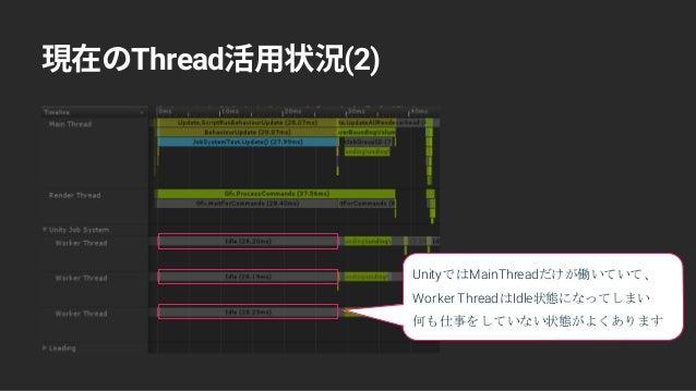 Thread (2) UnityではMainThreadだけが働いていて、 Worker ThreadはIdle状態になってしまい 何も仕事をしていない状態がよくあります