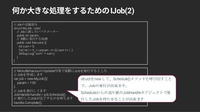 structをnewして、Schedule()メソッドを呼び出すこと で、Jobの発行が出来ます。 Scheduleからの返り値のJobHandleオブジェクトで発 行したJobを待たせることが出来ます IJob(2) // Jobの定義部分 ...