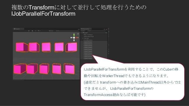 複数のTransformに対して並行して処理を行うための IJobParallelForTransform IJobParallelForTransformを利用することで、このCubeの移 動や回転をWorkerThreadでもできるようにな...