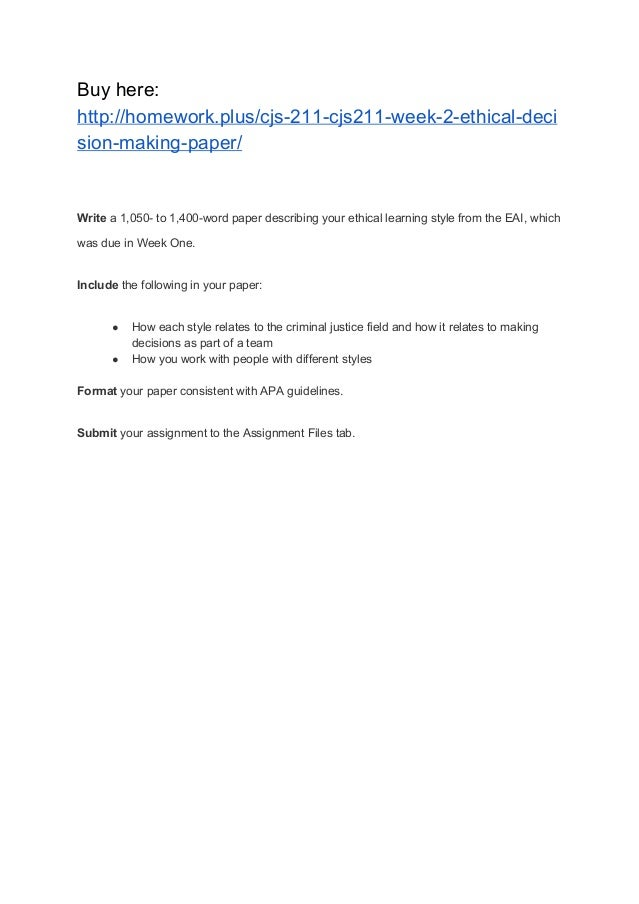 Ethical Decision Making: Case Study Paper