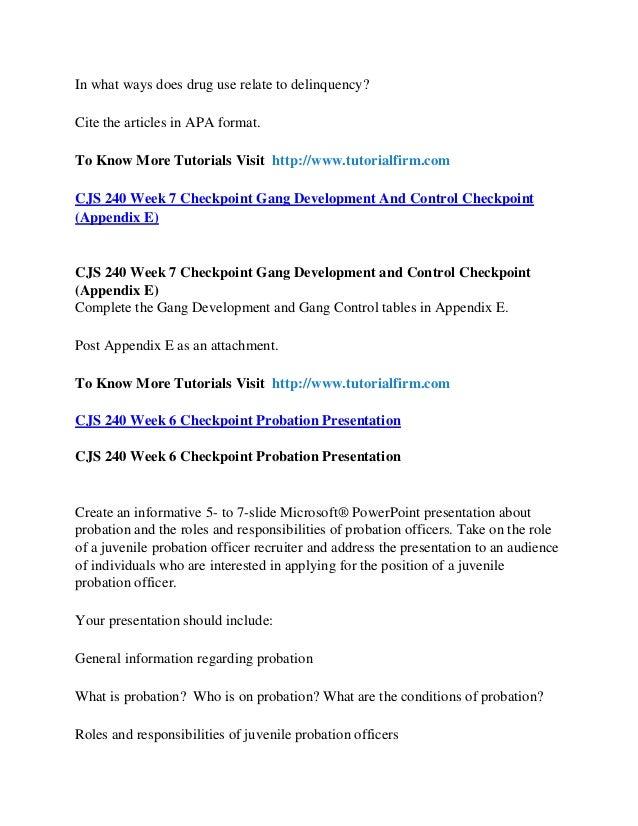 probation presentation powerpoint cjs 240 Probation presentation charline p hoyer cjs 240 axia university  february 17, 2012 cathy arrowsmith juvenile probation general information: •  what.