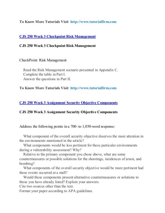 cjs 250 appendix c Cjs 250 appendix c risk management options september 21, 2017 posted in uncategorized cjs 250 appendix c risk management options post navigation cjs 240 week 1 appendix b cjs 240 appendix d the justice system leave a reply cancel reply your email address will not be published required fields are marked  comment.
