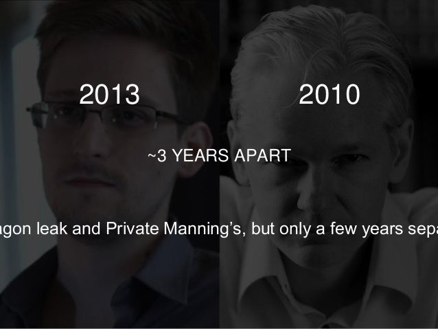 ~3 YEARS APART agon leak and Private Manning's, but only a few years sepa 2013 2010