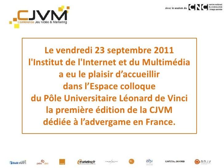 Bilan Conférence Jeu Vidéo Marketing Slide 2