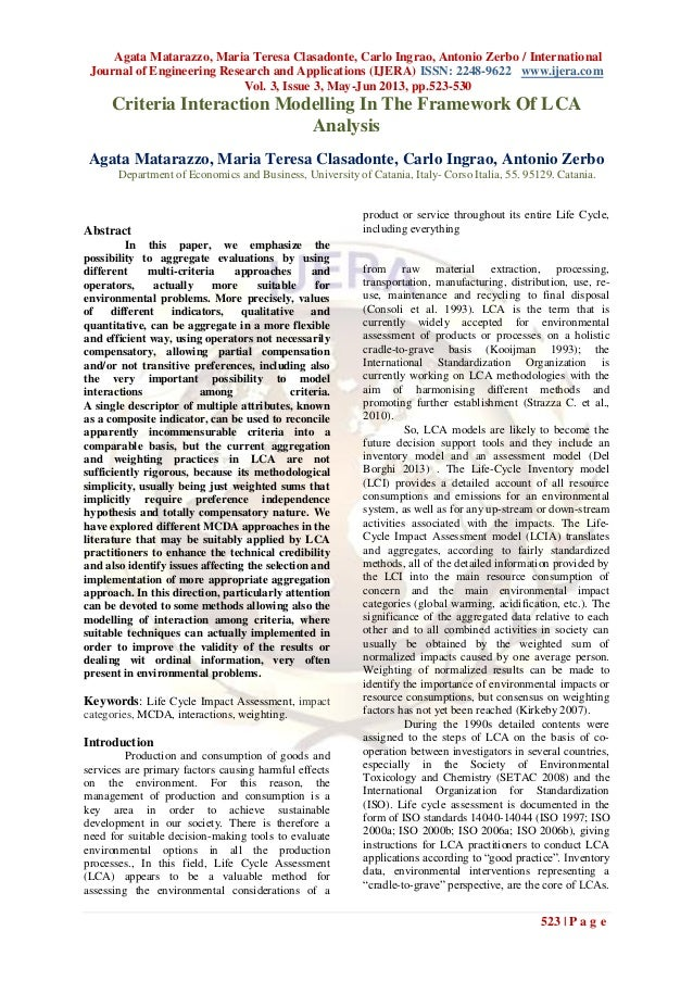 Agata Matarazzo, Maria Teresa Clasadonte, Carlo Ingrao, Antonio Zerbo / InternationalJournal of Engineering Research and A...