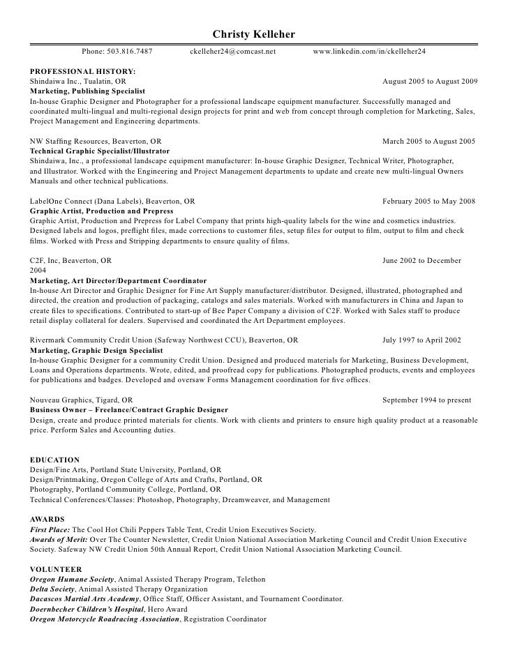 2 - Graphics Production Artist Resume