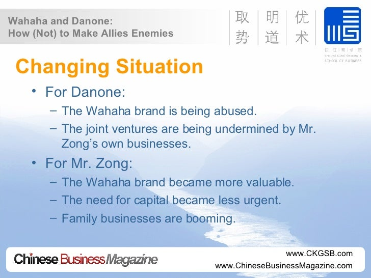 danone and wahaha 2007/04/17 after reading china law blogs post on the danone and wahaha joint venture dispute, i just had to translate this 21st century business herald article which ran over the weekend its details surpass anything reported so.