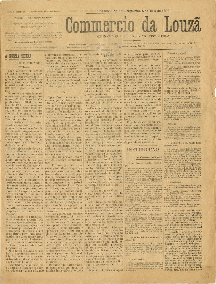 Commercio da Louzã n.º 5 – 04.05.1909