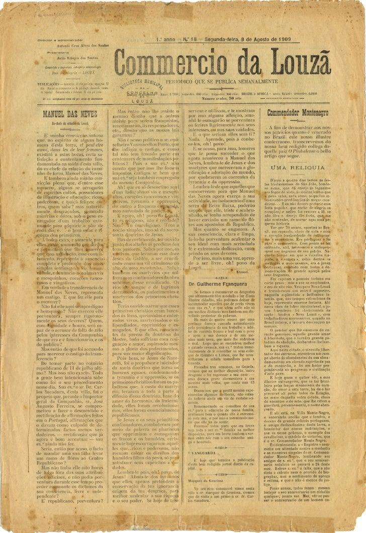 Commercio da Louzã n.º 18 – 09.08.1909