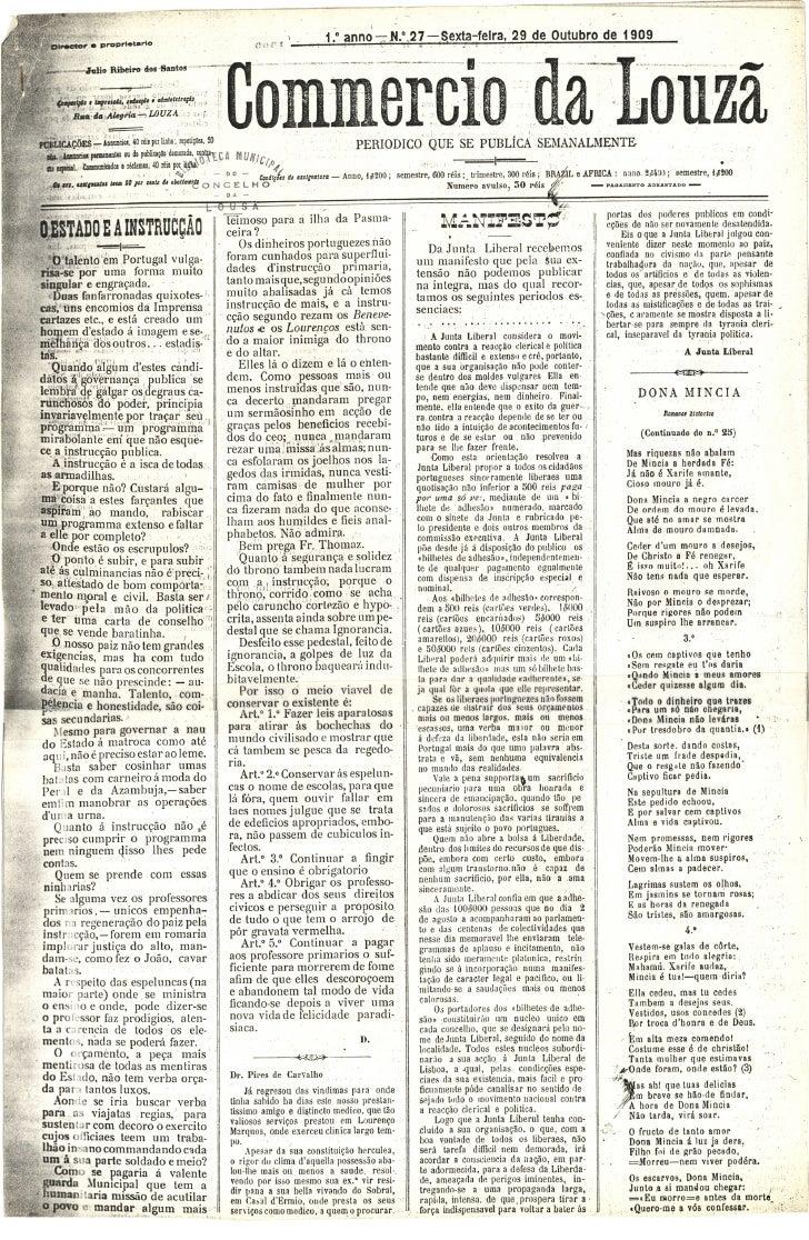 Commercio da Louzã n.º 27 – 29.10.1909