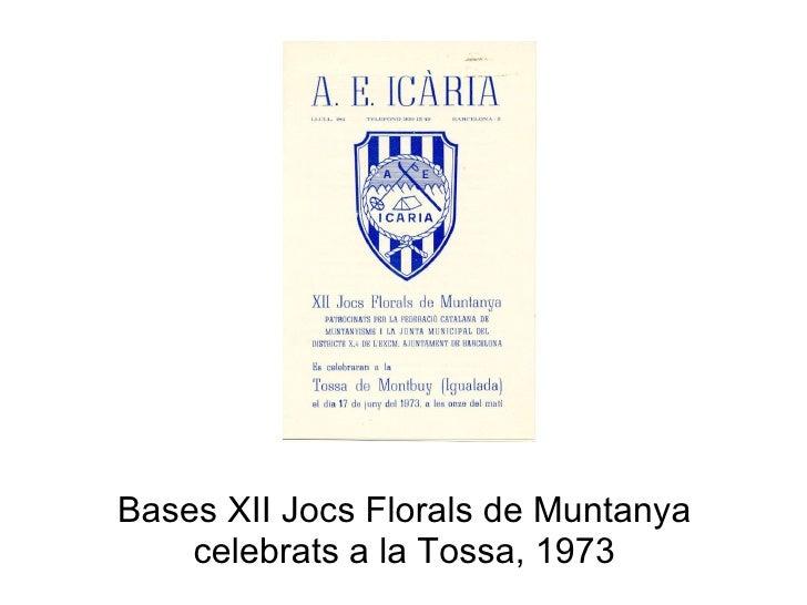 Bases XII Jocs Florals de Muntanya celebrats a la Tossa, 1973