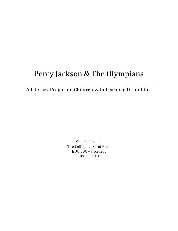 Percy Jackson & The Olympians A Literacy Project on Children with Learning Disabilities                            Cheska ...