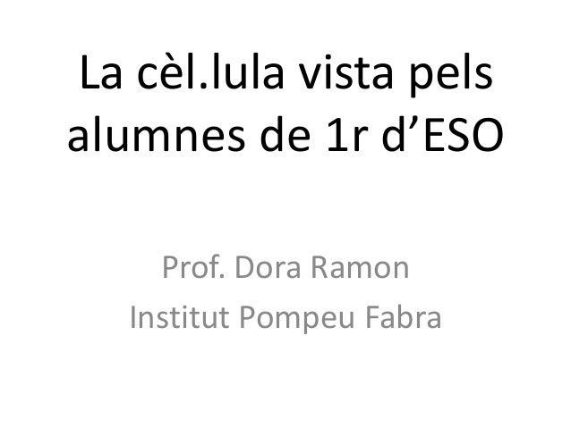 La cèl.lula vista pelsalumnes de 1r d'ESO     Prof. Dora Ramon   Institut Pompeu Fabra