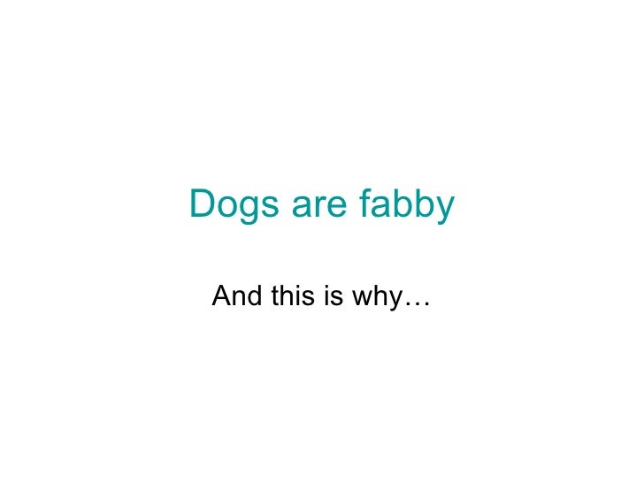 Dogs are fabby And this is why…