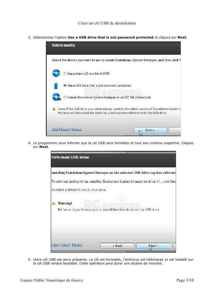 Créer un clé USB de désinfestion   3. Sélectionnez loption Use a USB drive that is not password protected et cliquez sur N...