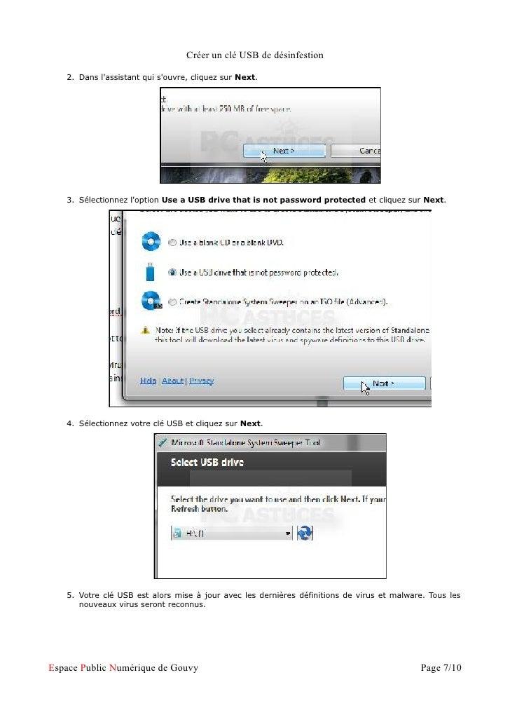 Créer un clé USB de désinfestion   2. Dans lassistant qui souvre, cliquez sur Next.   3. Sélectionnez loption Use a USB dr...