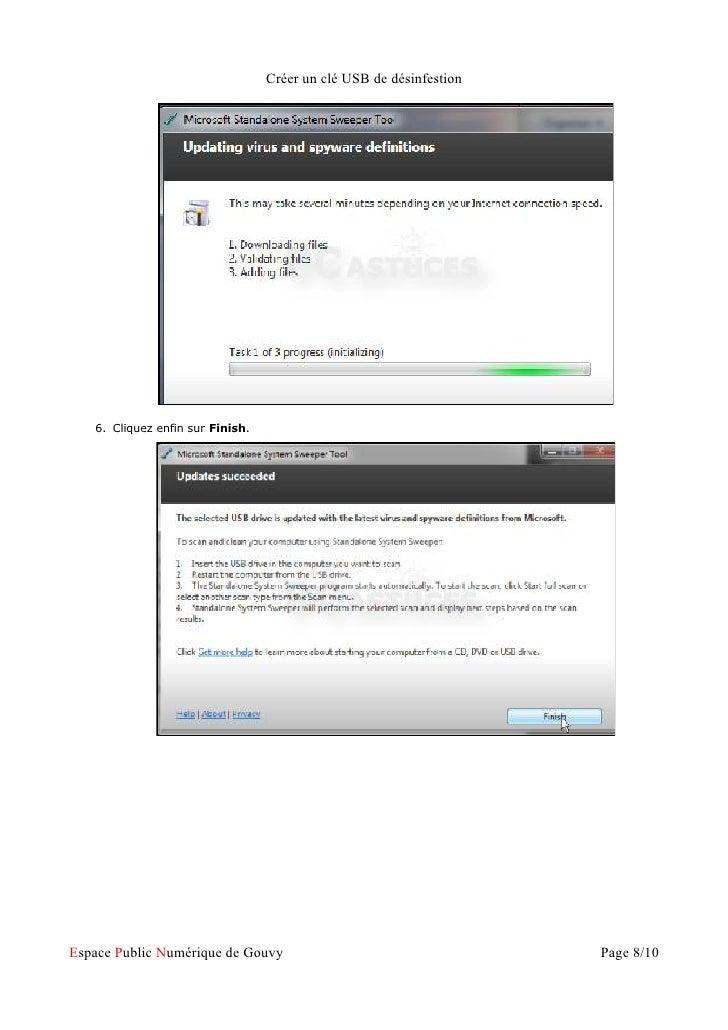 Créer un clé USB de désinfestion   6. Cliquez enfin sur Finish.Espace Public Numérique de Gouvy                           ...