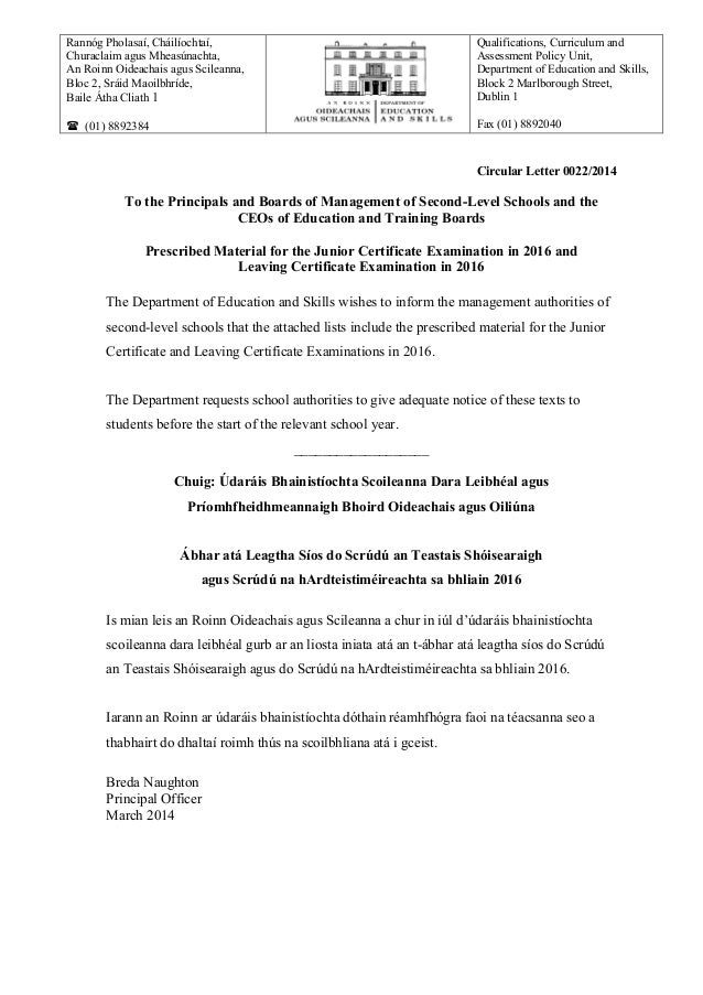 Circular Letter 0022/2014 To the Principals and Boards of Management of Second-Level Schools and the CEOs of Education and...