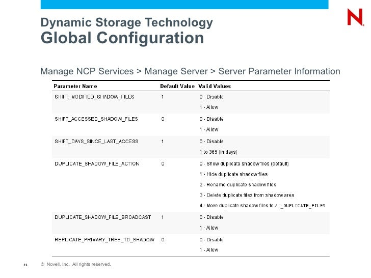 File access in novell open enterprise server 2 sp2 for Dynamic configuration tool