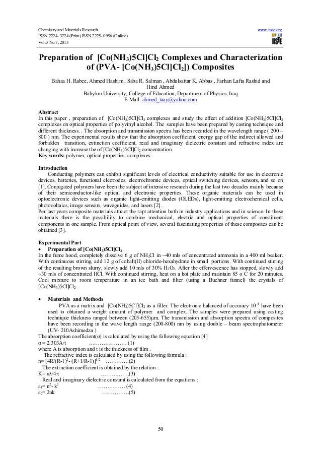 Chemistry and Materials Research www.iiste.org ISSN 2224- 3224 (Print) ISSN 2225- 0956 (Online) Vol.3 No.7, 2013 50 Prepar...