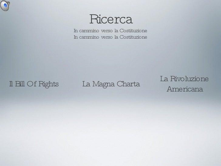 Ricerca In cammino verso la Costituzione In cammino verso la Costituzione Il Bill Of Rights La Magna Charta La Rivoluzione...