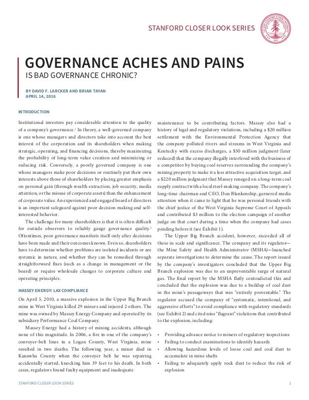 Governance Aches and Pains: Is Bad Governance Chronic?